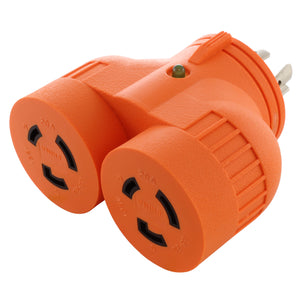 AC Works, multi outlet adapter for generator, orange adapter, V DUO adapter, twist lock adapter