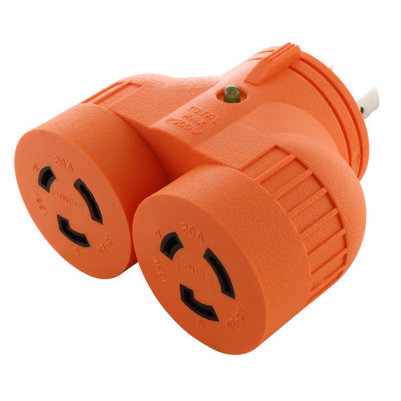 AC WORKS V-DUO adapter, multi-outlet adapter, multi-outlet generator adapter