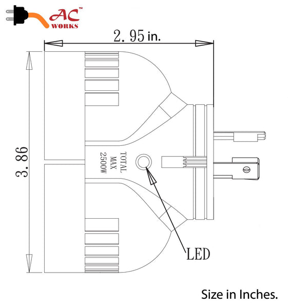 AC WORKS [ADVL520L520] One to Two V Outlet Adapter NEMA L5-20P 20Amp 125Volt 3-Prong Loking Plug to (2) L5-20R 20Amp 125Volt Locking Female Connectors
