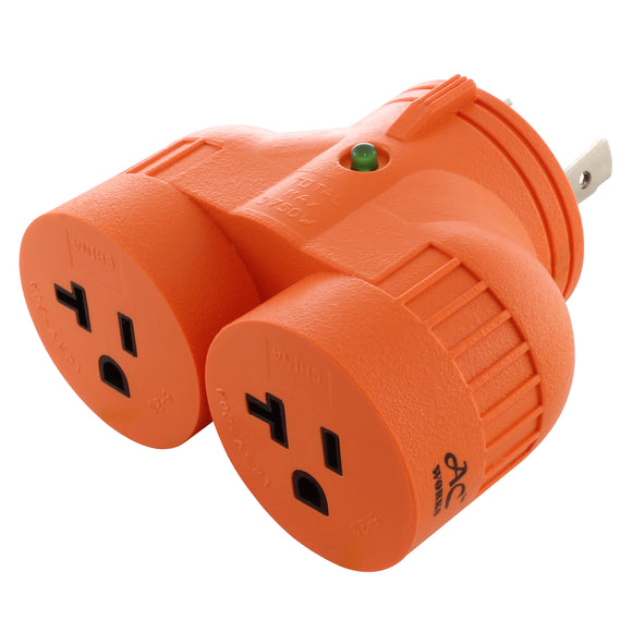 AC WORKS Brand V-DUO adapter, orange adapter, multi-outlet adapter, multi-outlet generator adapter