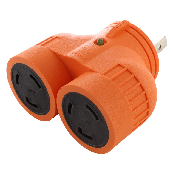 V-DUO adapter, AC WORKS, AC Connectors, orange multi outlet adapter
