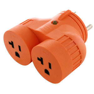 V-DUO adapter, multi outlet RV/generator adapter, orange adapter, AC WORKS, AC Connectors