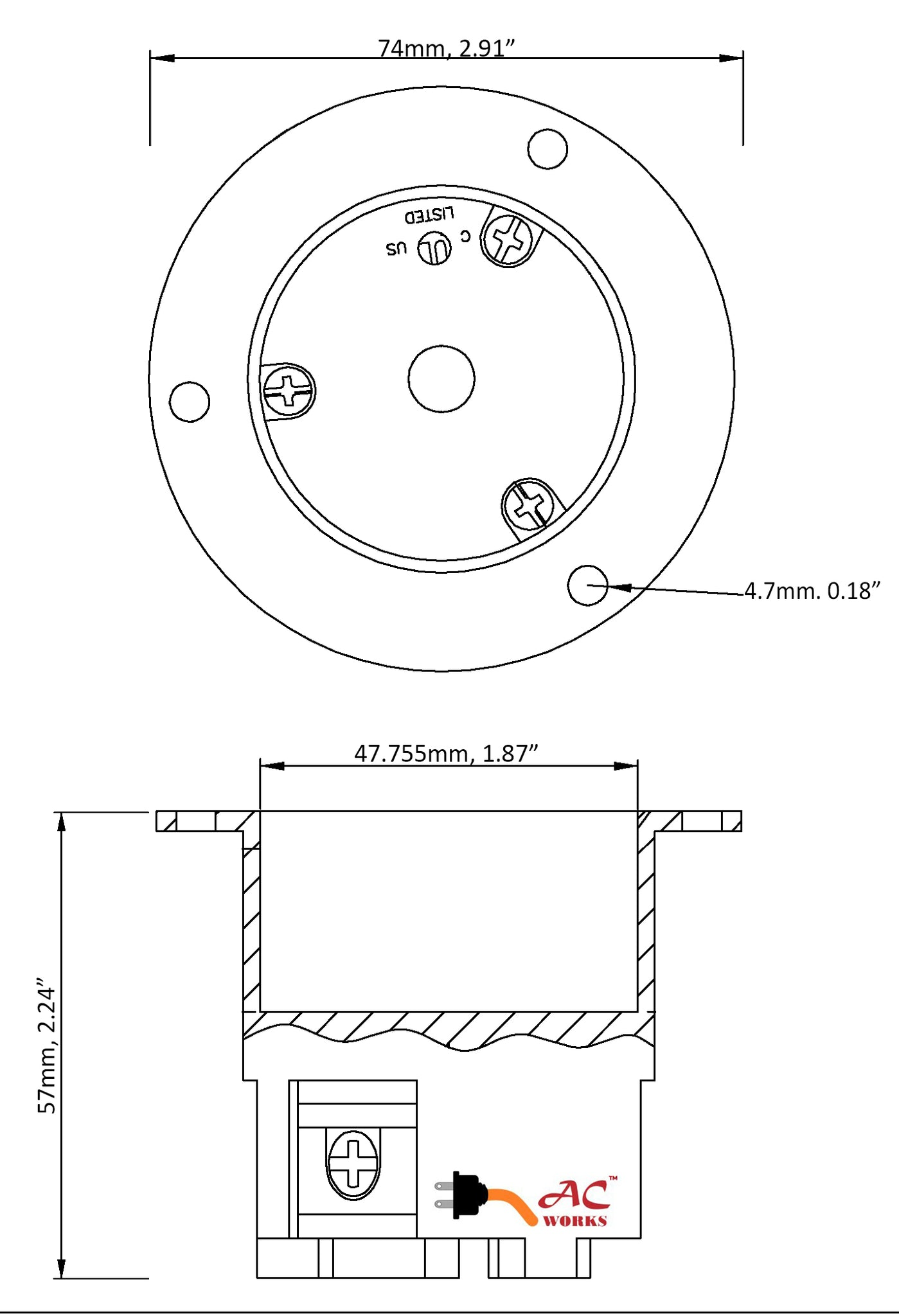 AC WORKS® 20A 125V NEMA L5-20R Flanged Outlet UL and C-UL