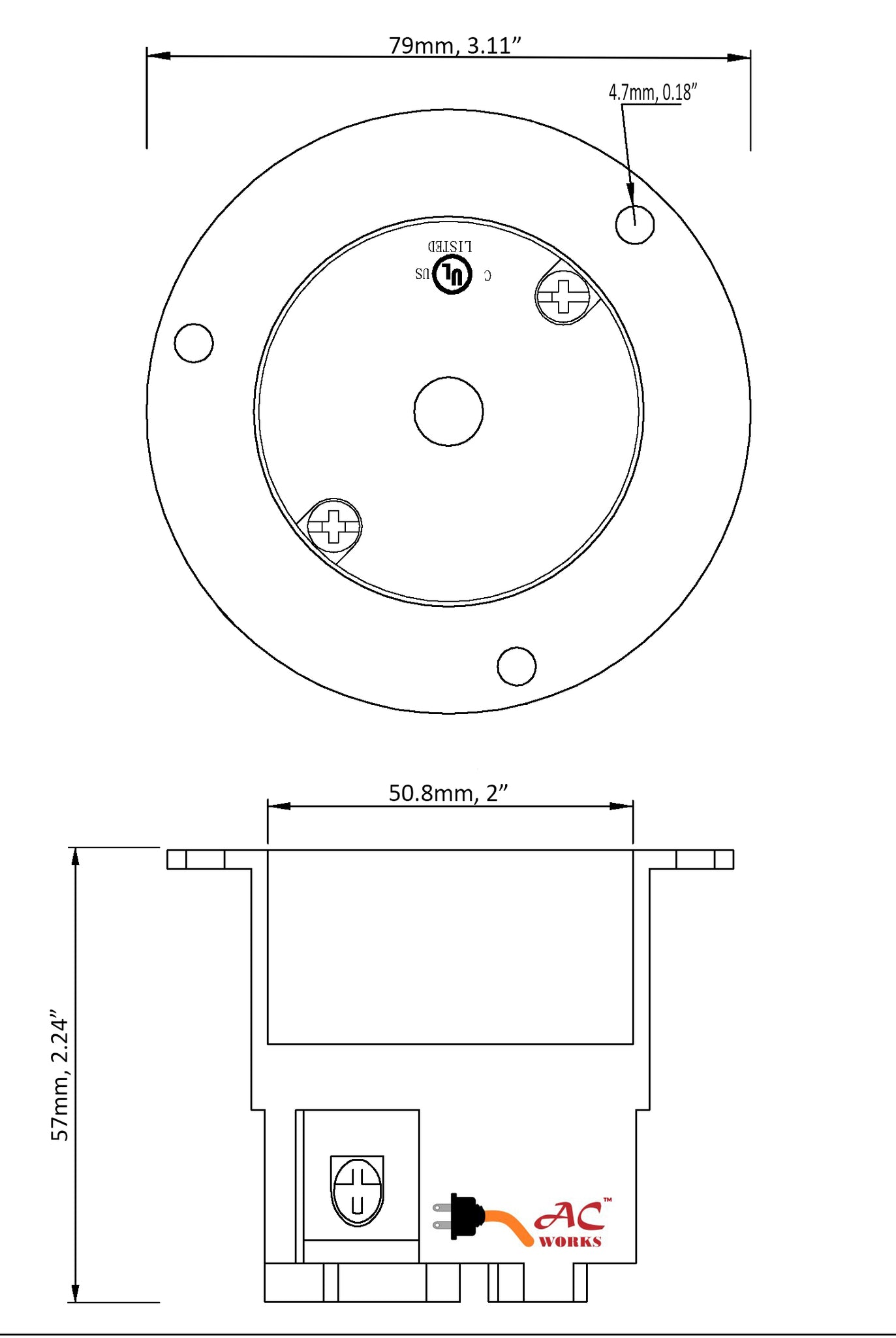 AC WORKS® 30A 125/250V L14-30R Flanged Outlet UL and C-UL