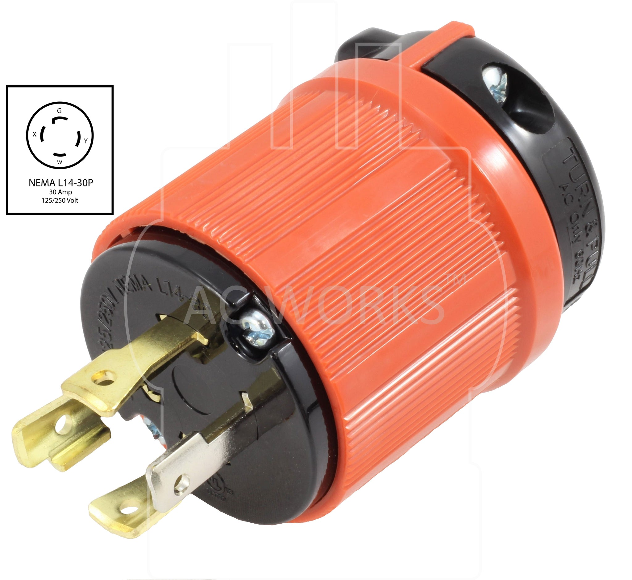 Nema L14 30p 30amp 125 250volt 4 Prong Assembly Locking Male Plug Wiring A L1430 Ac Works