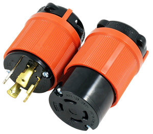 AC Works, assembly plug and outlet, locking plug and connector assembly, 30 amp plug and connector assembly