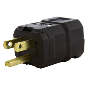 AC WORKS® [ASQ515P] NEMA 5-15P 15A 125V Clamp Style Square Household Plug with UL, C-UL Approval