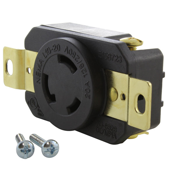 AC WORKS brand heavy-duty replacement outlet, industrial grade locking receptacle