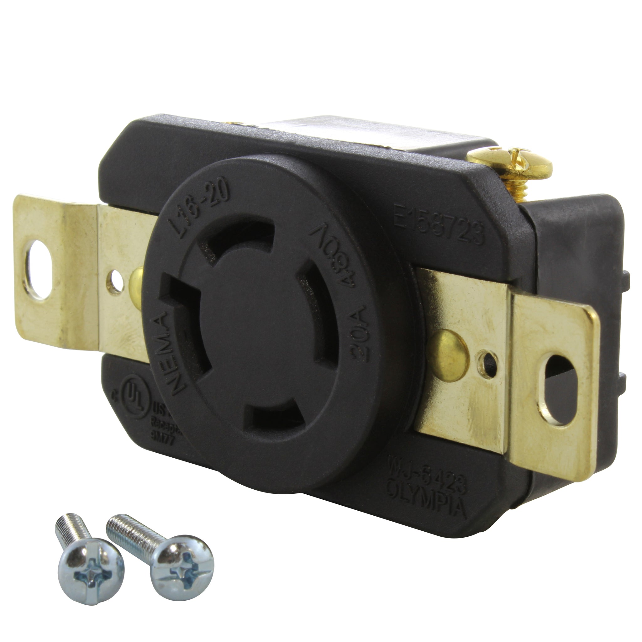 Locking Receptacle Socket Female NEMA L16-20R 20A 480VAC 3 Pole 4 Wire Grounding