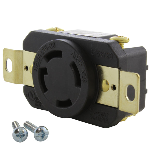 replacement industrial grade locking outlet, DIY female receptacle, AC WORKS brand 30 amp 480 volt outlet