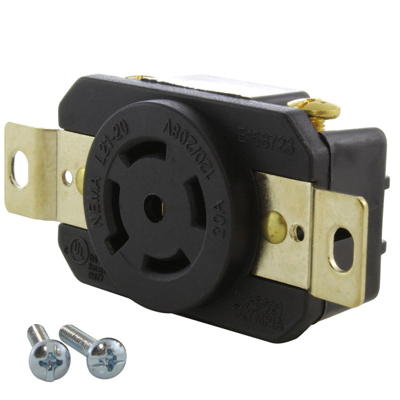 4-pole 5-wire grounding receptacle replacement, AC WORKS brand industrial grade outlet