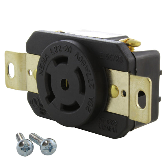 locking DIY industrial outlet from AC Connectors, AC WORKS brand heavy-duty locking outlet