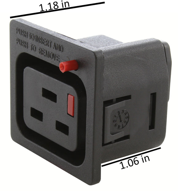 compact IT C19 outlet with locking feature
