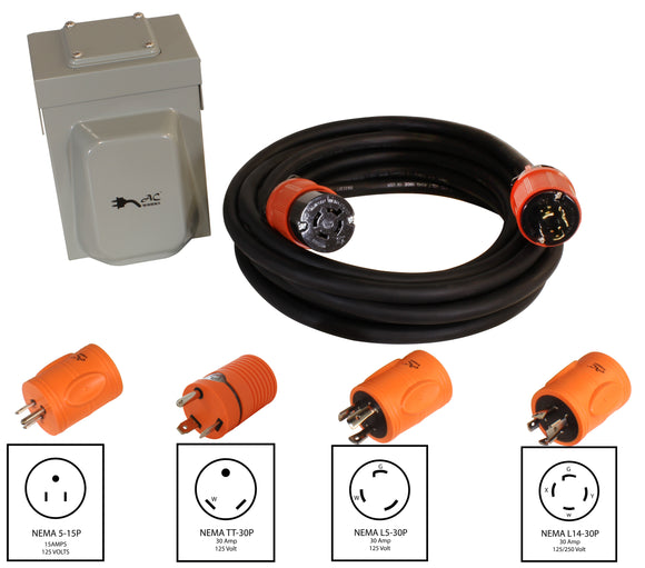 emergency power kit by AC WORKS™, 20 amp inlet kit
