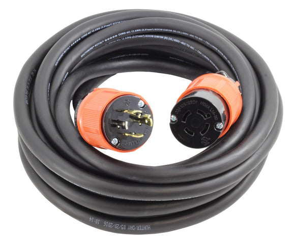 AC Works, transfer switch power cord, L1420 power cord, locking extension cord, 20 amp 4 prong locking power cord