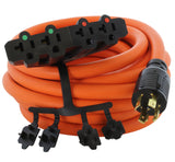 AC WORKS® [L1430F520] L14-30P 4-Prong 30A Plug to (4) NEMA 5-15/20R 20A Adapter Cord