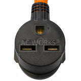 AC WORKS® [L630630-018] L6-30P 3-Prong 250V Locking Plug to 6-30R 3-Prong 30 Amp 250 Volt HVAC Female Adapter