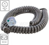 NEMA 5-15P to C13 coiled medical grade cable