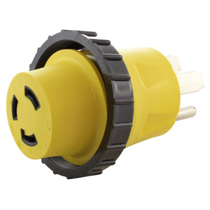 yellow RV adapter, locking adapter, adapter with ring