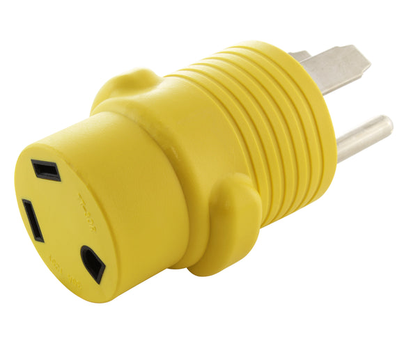 yellow RV adapter, 30 amp rv to 50 amp power pedestal, compact adapter, barrel adapter