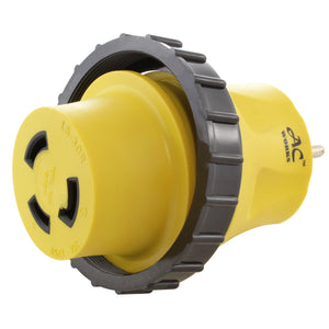 yellow adapter, locking adapter, RV/Marine adapter, compact adapter, AC WORKS, AC Connectors