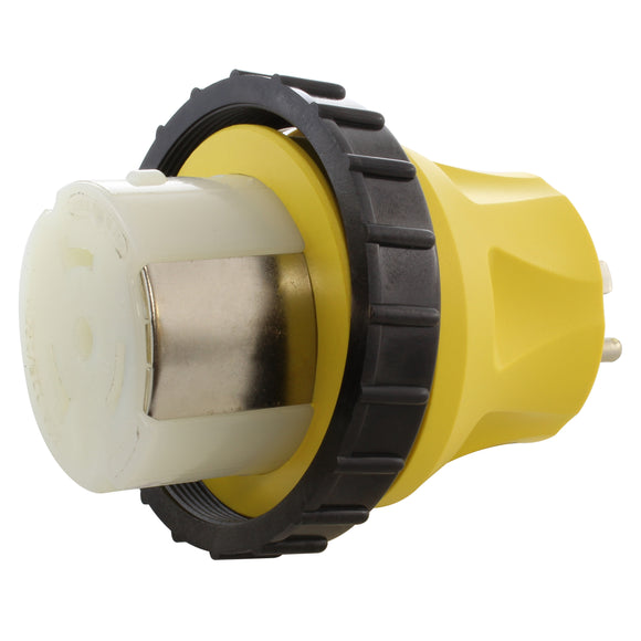 yellow compact adapter, locking adapter, RV adapter, shore power adapter