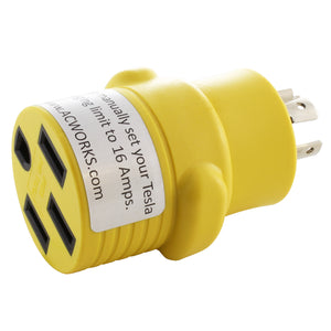 yellow tesla adapter, yellow rv adapter, compact adapter, locking adapter, AC WORKS, AC Connectors