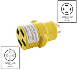 NEMA L14-20P to NEMA 14-50R, L1420 plug to 1450 connector, 4-prong 20 amp locking generator plug to 4-prong RV/EV connector