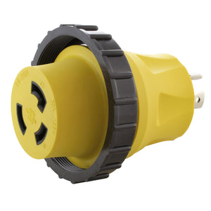 compact yellow adapter, RV and shore power adapter, locking adapter, AC WORKS, AC Connectors