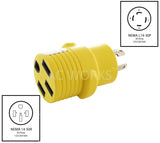 AC Works, NEMA L14-30P to NEMA 14-50R, 4 prong locking plug to 50 amp RV outlet