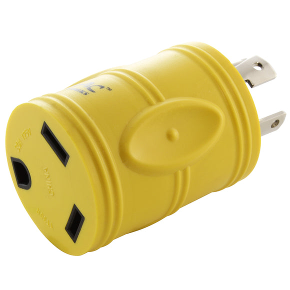 RV/generator adapter, yellow adapter, locking adapter, compact barrel adapter, AC WORKS, AC Connectors