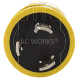 AC Works, NEMA L5-30P, L5-30P, L530P, L530, 3 prong twist lock plug, 30 amp 3 prong locking plug, nickel plated plug