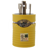 AC Works, Adapter for camper, yellow adapter, boat power solutions, marine power solutions,