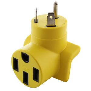 yellow RV adapter for 50 amp RV, compact right angle adapter
