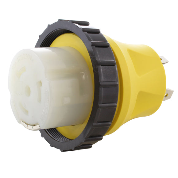 yellow adapter, AC WORKS, AC Connectors, locking adapter, RV adapter, adapter with locking ring