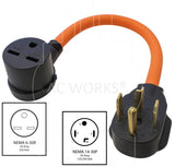 NEMA 14-30P to NEMA 6-30R, 1430 male plug to 630 female connector, 4prong dryer plug to 3-prong commercial HVAC, 30 amp 250 volt adapter