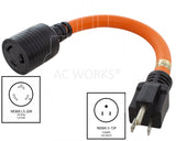 AC Works, NEMA 5-15P to NEMA L5-20R, household plug to 3 prong locking connecctor