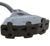 AC WORKS® [S620W620-010] 10FT SJTW 12/3 NEMA 6-20 20A 250V Plug to Lighted 15/20A 250V Multi-Outlets