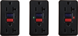 GFCI Status Indicator Lights, Red, Green, self-test, TEST, RESET