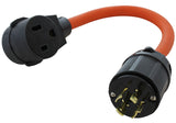 3-phase 250 volt outlet adapter for welder, AC WORKS brand orange flexible adapter
