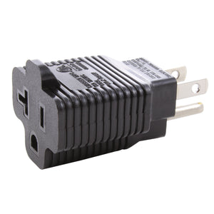 AC WORKS household adapter, 20 amp to 15 amp household adapter, t-blade to household plug adapter