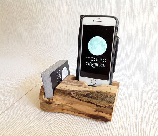 iPhone  #50 ... Medura Originals Compact Spalted Dock Designed with Wallet / Business Card Rack