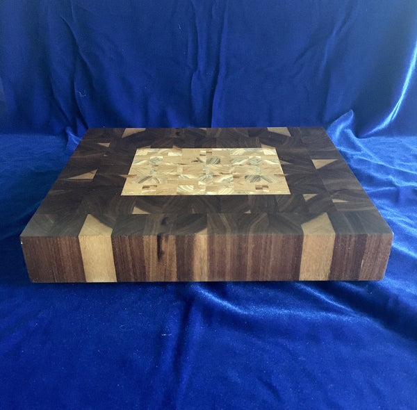Board #6: Black Walnut Cuttting Board with Cubic Elm Center