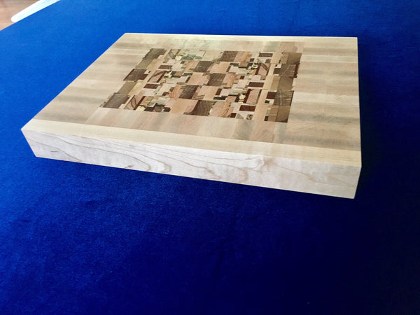Board #18:  Cubic Center within Maple Frame Cutting Board