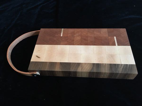 Board#6 Tricolor Cutting Board with Leather Strap