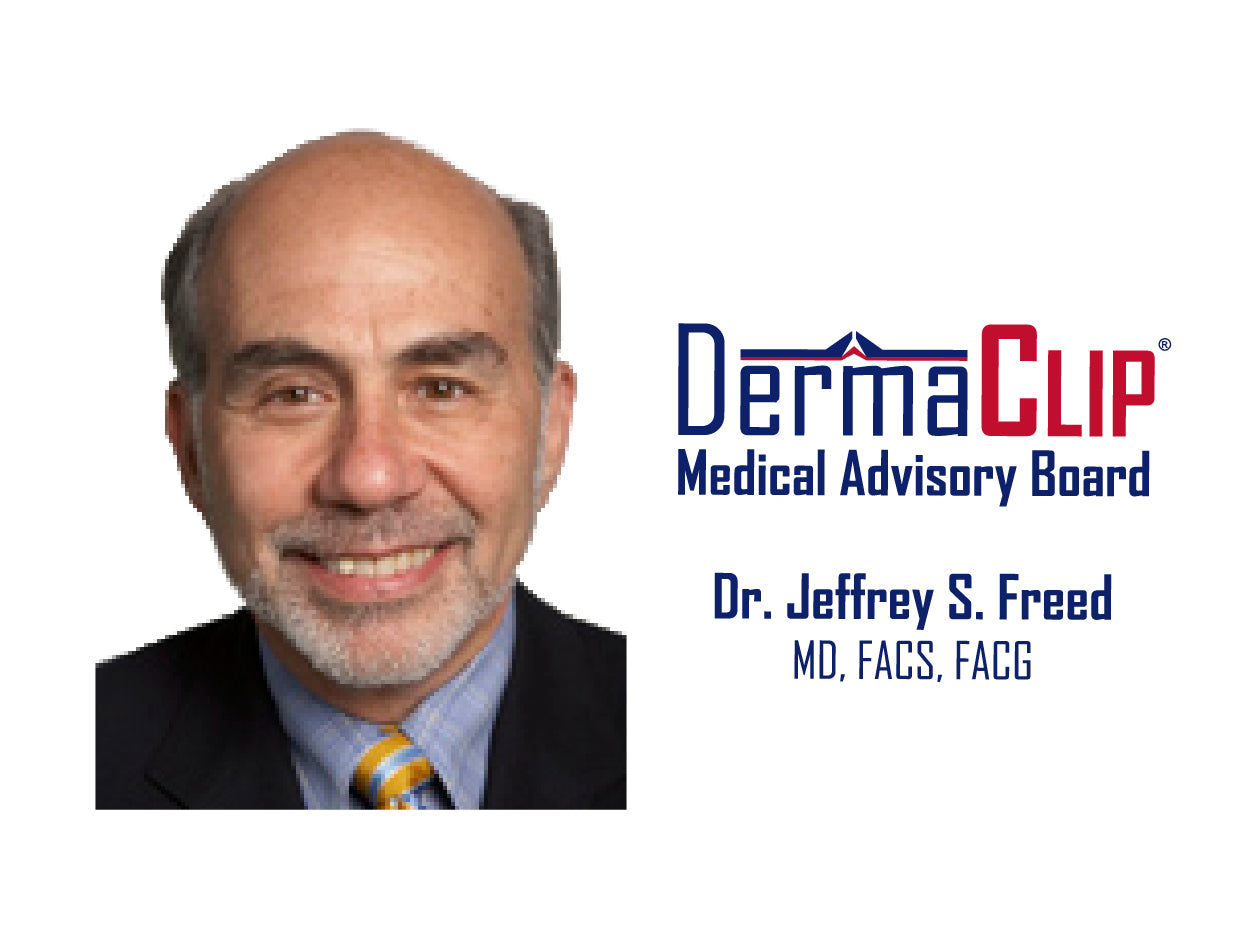 Dr. Jeffrey S. Freed, MD, FACS, FACG. Board certified colorectal surgeon and Chairman of the DermaClip medical advisory board