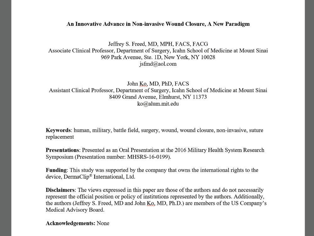 DermaClip Manuscript, Submission to Military Medicine Journal