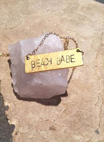 Handstamped Beach Babe Necklace