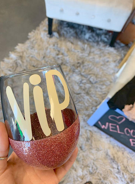 Glitter Wine Cup - vip - shop dolled up