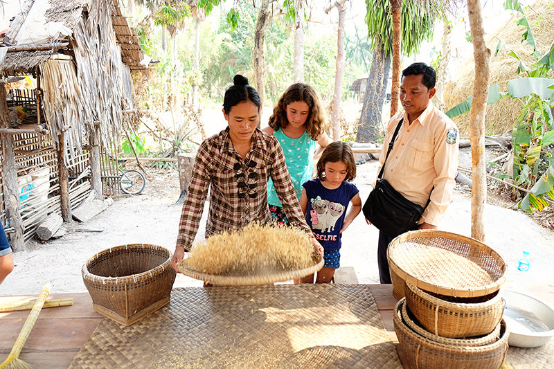 How travel can help to teach our kids to be more independent! - Cambodia Tours Rice Processing and Preparation